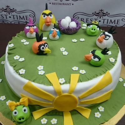 Торт Angry birds на лужайке за 1кг