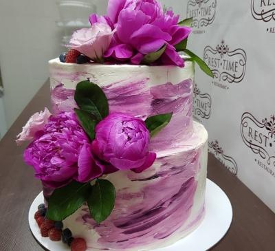 Торт С пионами 4кг